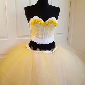 SHIRA Yellow & White Lace Corset Wedding Gown Set